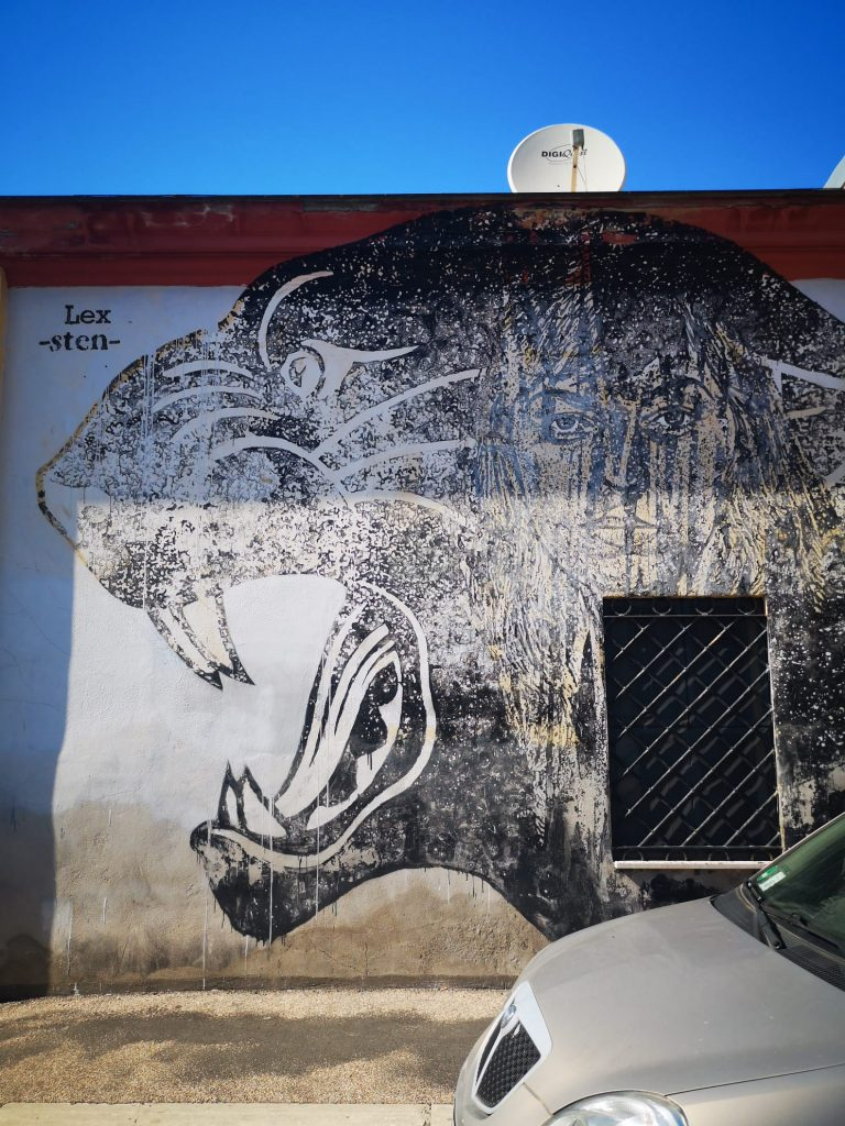 Sten Lex, Black and White Power, wall representing a panther