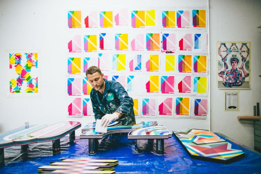 Tavar Zawacki working on his studio